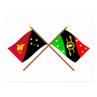 Crossed flags of PNG & Southern Highlands Province Postcard