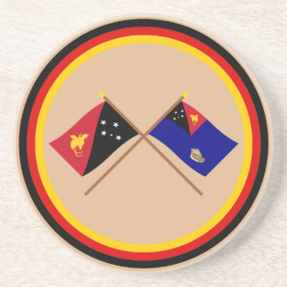 Crossed flags of PNG & West New Britain Province Beverage Coasters