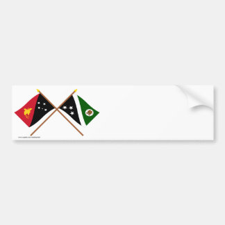 Crossed flags of PNG & Western Highlands Province Bumper Stickers