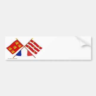 Crossed flags of Poitou-Charentes and Deux-Sèvres Bumper Stickers