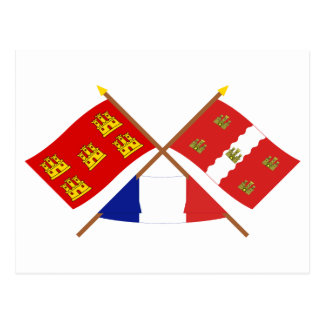 Crossed flags of Poitou-Charentes and Vienne Postcard