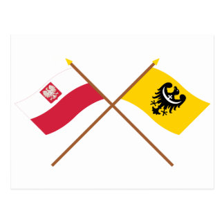 Crossed flags of Poland and Dolnośląskie Postcard