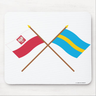 Crossed flags of Poland and Śląskie Mousepads