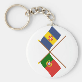 Crossed Flags of Portugal and Madeira Basic Round Button Keychain