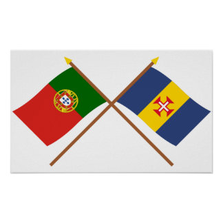 Crossed Flags of Portugal and Madeira Poster