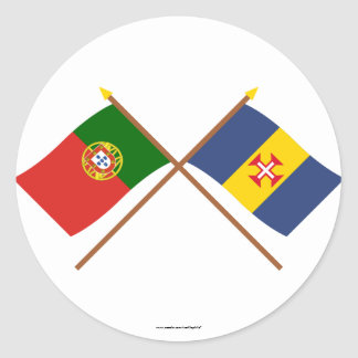 Crossed Flags of Portugal and Madeira Classic Round Sticker
