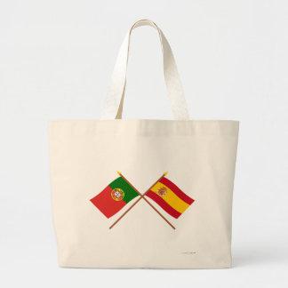 Crossed Flags of Portugal and Spain Jumbo Tote Bag
