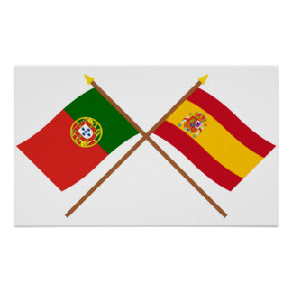 Crossed Flags of Portugal and Spain Poster