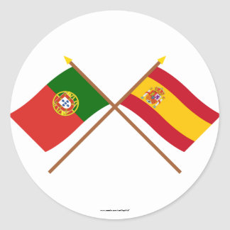 Crossed Flags of Portugal and Spain Round Sticker