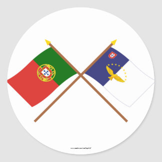 Crossed Flags of Portugal and the Azores Classic Round Sticker