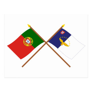 Crossed Flags of Portugal and the Azores Postcard