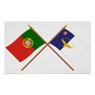 Crossed Flags of Portugal and the Azores Poster