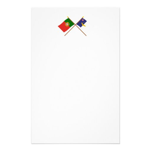 Crossed Flags of Portugal and the Azores Stationery