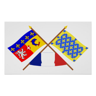 Crossed flags of Rhône-Alpes and Ardèche Poster