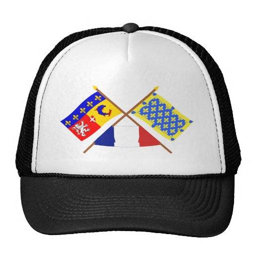 Crossed flags of Rhône-Alpes and Ardèche Trucker Hat