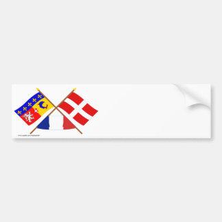 Crossed flags of Rhône-Alpes and Haute-Savoie Bumper Sticker