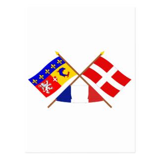 Crossed flags of Rhône-Alpes and Haute-Savoie Postcard