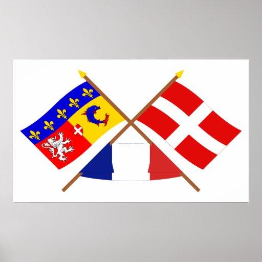Crossed flags of Rhône-Alpes and Haute-Savoie Poster