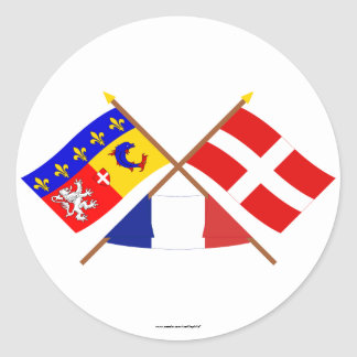 Crossed flags of Rhône-Alpes and Haute-Savoie Round Stickers