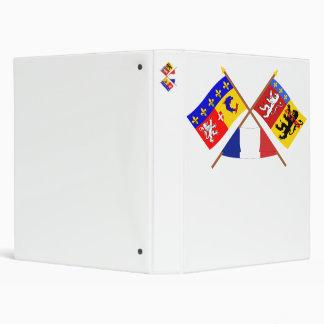 Crossed flags of Rhône-Alpes and Rhône Binder