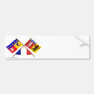Crossed flags of Rhône-Alpes and Rhône Bumper Sticker
