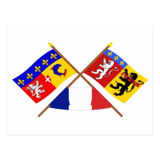 Crossed flags of Rhône-Alpes and Rhône Postcard
