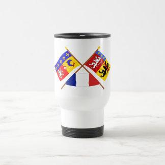 Crossed flags of Rhône-Alpes and Rhône Travel Mug