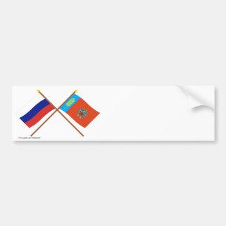 Crossed flags of Russia and Altai Krai Bumper Sticker