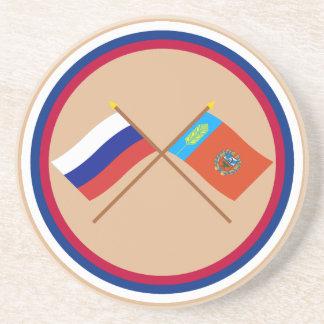 Crossed flags of Russia and Altai Krai Coaster