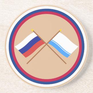 Crossed flags of Russia and Altai Republic Coaster