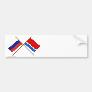 Crossed flags of Russia and Amur Oblast Bumper Stickers