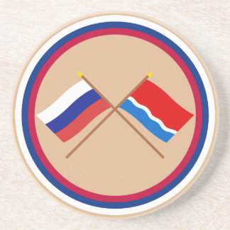 Crossed flags of Russia and Amur Oblast Beverage Coasters