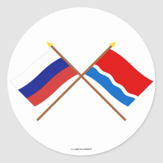 Crossed flags of Russia and Amur Oblast Stickers