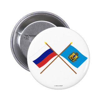 Crossed flags of Russia and Arkhangelsk Oblast Button