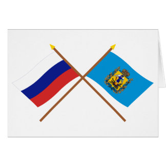 Crossed flags of Russia and Arkhangelsk Oblast Card