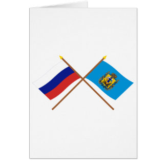 Crossed flags of Russia and Arkhangelsk Oblast Cards