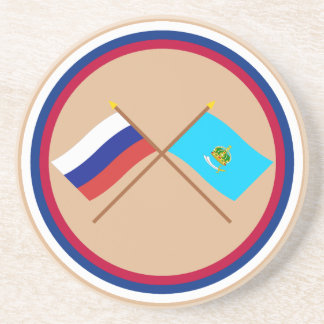 Crossed flags of Russia and Astrakhan Oblast Drink Coaster
