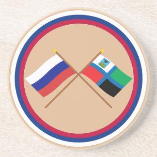 Crossed flags of Russia and Belgorod Oblast Sandstone Coaster