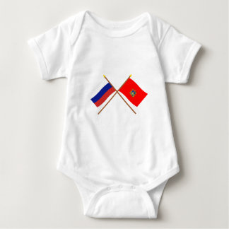 Crossed flags of Russia and Bryansk Oblast Baby Bodysuit