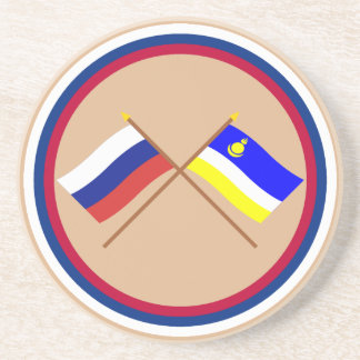 Crossed flags of Russia and Buryat Republic Coaster