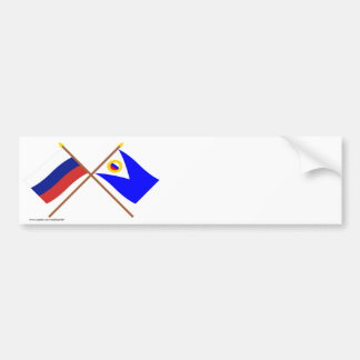 Crossed flags of Russia and Chukotka Auto Okrug Bumper Stickers