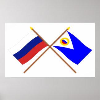 Crossed flags of Russia and Chukotka Auto. Okrug Print