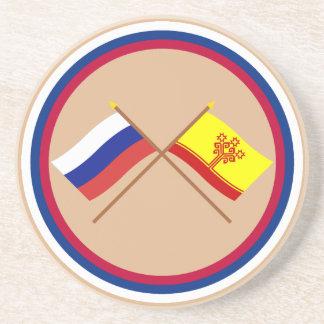 Crossed flags of Russia and Chuvash Republic Sandstone Coaster