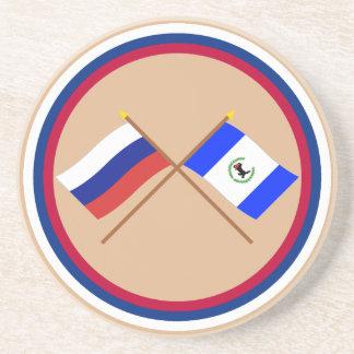 Crossed flags of Russia and Irkutsk Oblast Drink Coaster