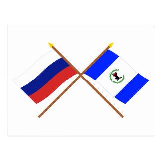 Crossed flags of Russia and Irkutsk Oblast Postcard