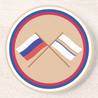 Crossed flags of Russia and Jewish Auto. Oblast Beverage Coaster