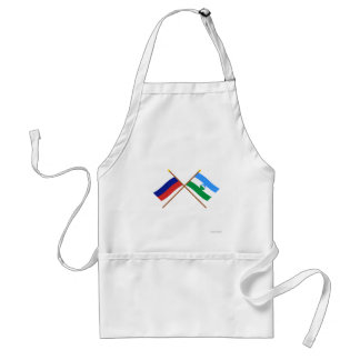 Crossed flags of Russia and Kabardino-Balkar Rep. Adult Apron