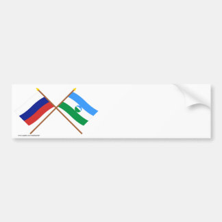 Crossed flags of Russia and Kabardino-Balkar Rep. Bumper Sticker