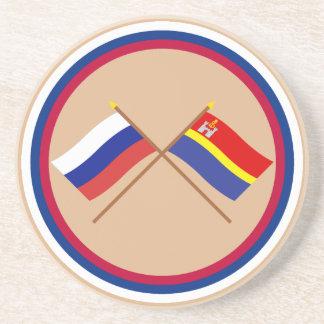 Crossed flags of Russia and Kaliningrad Oblast Beverage Coasters