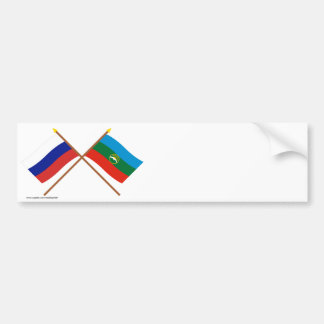 Crossed flags of Russia and Karachay-Cherkess Rep Bumper Sticker